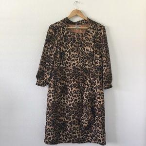 Leopard Print 3/4 Sleeve Knee Length Dress